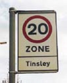 Example of 20 mph zone signage, Tinsley