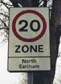 Example of 20 mph zone signage, North Earlham