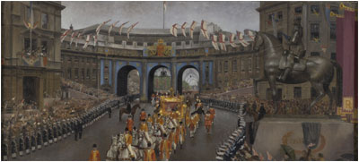 Coronation Procession: Admiralty Arch from Trafalgar Square