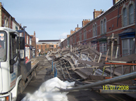 The aftermath of the scaffold collapse in Jedburgh Street