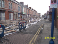 The length of Jedburgh Street was covered in scaffold
