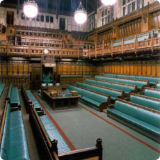 The inside of an empty Commons chamber