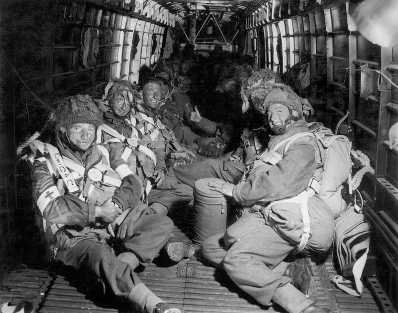 Paras of 6th Airborne en route to Normandy in an RAF transport
