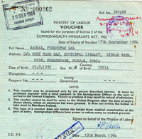 A Ministry of Labour voucher issued under section 2 of the Commonwealth Immigrants Act, 1962