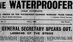 An extract from The Waterproofer, dated 1935, the newspaper of the Waterproof Garment Workers' Trade Union