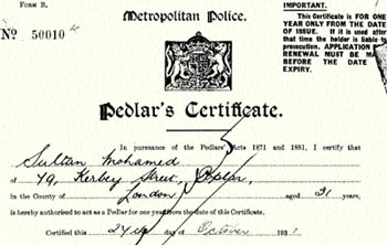 A pedlar's certificate application for Sultan Mohamed, a 31 year old British Indian seaman from the 1930s