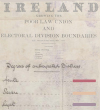 The heading of a map of Ireland dated 1890 showing the Poor Law Unions and the electoral divisions