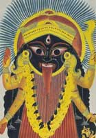 The most popular souvenir for pilgrims visiting the Kalighat  temple was the religious image of the Hindu goddess Kali, the female consort of Shiva, the god of  destruction.