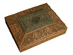 Carved wooden box commemorating the election of Dadabhai Naoroji as a Member of Parliament, 1892.