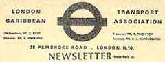 Read the London Transport Caribbean Association Newsletter and Constitution (1985).