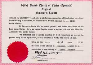 Minister's license for The Shiloh United Church of Christ presented in Croydon to Thomas M.  A.  Hinds.