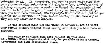 Extract from draft Home Office advice warning refugees of the risk of conscription into the German army