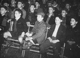 Boys enjoying an entertainment at a hostel in Windermere, Westmorland (now Cumbria) in 1946.