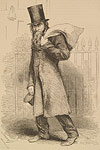 The Jewish old clothes man, from Henry Mayhew's London Labour and the London Poor. Dealing in second-hand clothes was a common occupation for the new immigrant in the first half of the 19th century