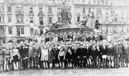 Some three hundred children, survivors of the Holocaust, gathered in the Old Square, 	Prague before leaving for England in 1945. The very young children in the front row had been in Theresienstadt concentration camp