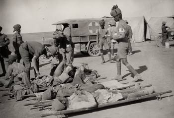 Indian medical orderlies attending to wounded soldiers