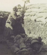 A soldier from the Royal Irish Fusiliers, in a trench at Gallipoli in Turkey in 1915 or 1916