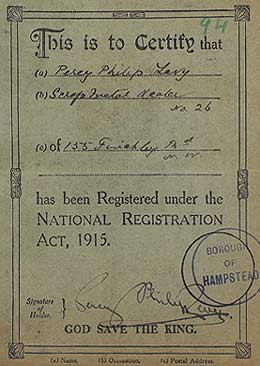 Percy Levy's Certificate of Registration under National Registration Act 1915