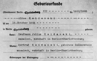 Copy of birth certificate of Alice Keidanski (later Chapp)