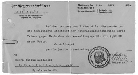 Copy of certificate of naturalisation as a Prussian citizen for Heinrich Keidanski, 1935
