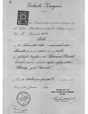 Birth certificate of Ella Frank, 19 November 1906
