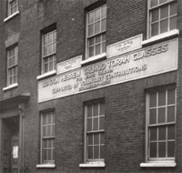 The exterior of the Great Synagogue in Brick Lane, London, in 1953