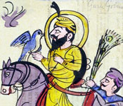 A water-colour painting of the Sikh Guru Gobind Singh on horseback.