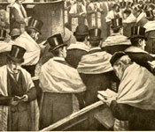 Plate showing the Cathedral Synagogue: the Cohanim (priests) blessing the congregation.