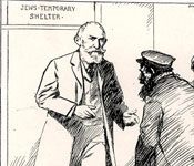 Sketch showing immigrants being welcomed to the Jews' Temporary Shelter by Hermann Landau.