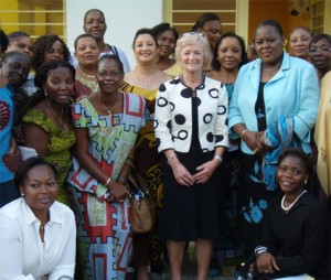 Baroness Kinnock with women's rights activists in the DRC; Crown copyright