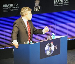 Gordon Brown speaking in Sao Paulo; Crown copyright