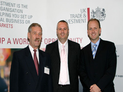 Image of Summit founder/director Scott Watson (right) with UKTI's Brian Aungiers (left) and Neil Wilson (centre)