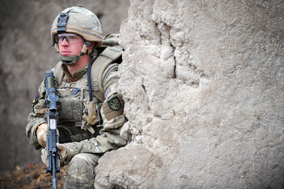 Private Robert Willis, a TA frontline medic, in Afghanistan.