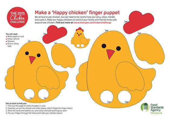 Make a 'Happy chicken' finger puppet