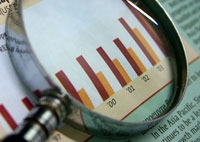 magnifying glass data graph