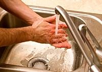sink washing hands