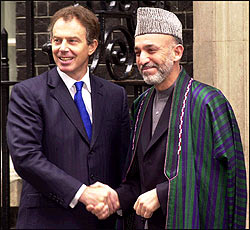 The Prime Minister, Tony Blair, meets the Afghan President, Hamid Karzai