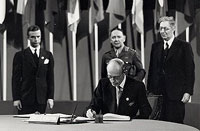 The Earl of Halifax, British Ambassador to the USA, signing the UN Charter on 26 June 1945