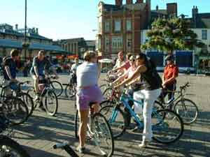 Cyclists getting ready for a bike ride in town