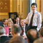 david miliband at an open meeting