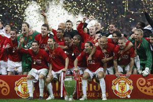 Man U celebrate at the end of the Champions League Final in Moscow, May 2008. (c) Getty Images