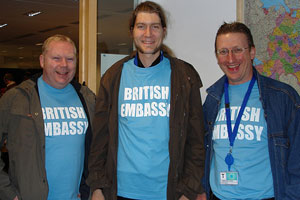 Three members of staff from teh British embassy, Moscow
