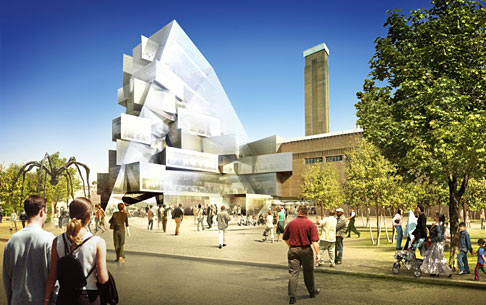View of the development of Tate Modern as seen from the new south square © Herzog & de Meuron / Hayes Davidson