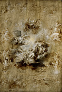 Sir Peter Paul Rubens , The Apotheosis of James I and other studies: sketch for the ceiling of the Banqueting House, Whitehall, 1629-30