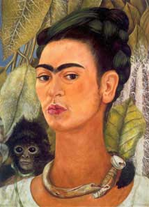 Frida Kahlo, Self-Portrait with Monkey, 1938 © Banco de México and INBAL, Mexico, 2005. Albright-Knox Art Gallery, Buffalo NY Bequest of A. Conger Goodyear, 1966