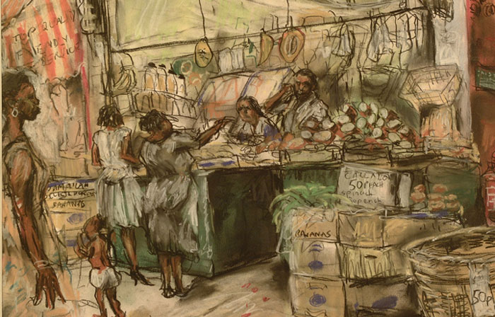 Pastel drawing by David A. N. Williams, 1988.  This drawing show a market stall of exotic vegetables for the Caribbean community: Jamaican selected green bananas, sugar cane, sweet potatoes, and spinach.