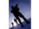 Soldiers from 3 Cdo bde BPT on patrol during excersise joint winter Norway 2004.