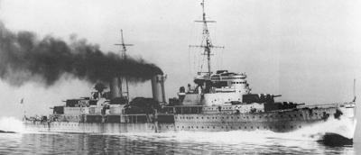 HMS Belfast at full speed on the measured mile range off Greenock, 23 May 1939. (IWM Neg HU 43767)
