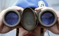 UN peacekeeper keeps watch. © MICHAEL KAPPELER/AFP/Getty Images