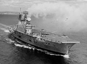 Aircraft carrier HMS Eagle shortly after modernisation in May 1964 with large Type 984 radar